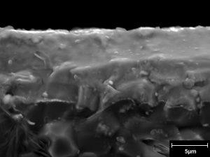 Fractographie d'un revêtement dense sur substrat d'alumine